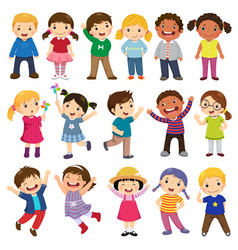 Happy kids cartoon collection vector