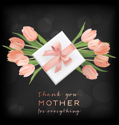 happy mothers day banner with tulip flowers vector image