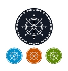 Icon ships wheel and chain vector image