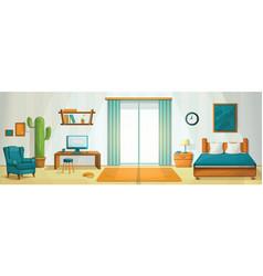 Interior room concept background cartoon style vector