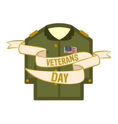 isolated captain uniform veteran day label vector image