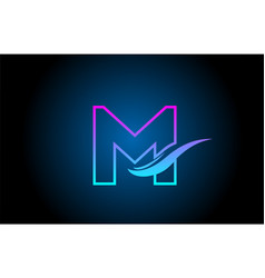 M blue and pink alphabet letter logo icon for vector