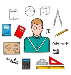 Mathematician teacher with education icons vector image