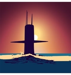 Military submarine silhouette vector