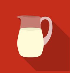 Milk jug icon flat single bio eco organic vector
