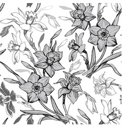 Monochrome botanical seamless pattern with hand vector
