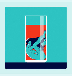 Naked woman in glass of drink temptation concept vector