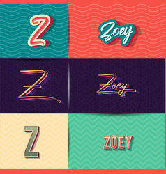Name zoey in various retro graphic design vector