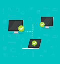 network connection between computers vector image