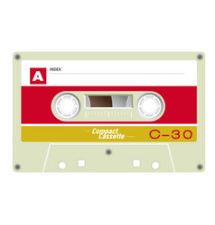 Old school compact cassette vector