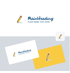 pencil logotype with business card template vector image