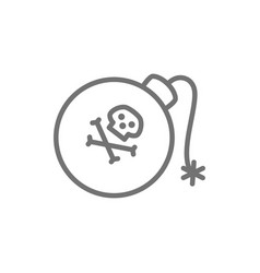 pirate bomb grenade weapons line icon vector image