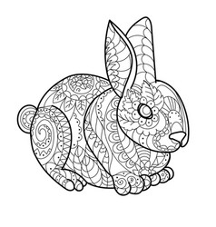 rabbit bunny coloring book vector image