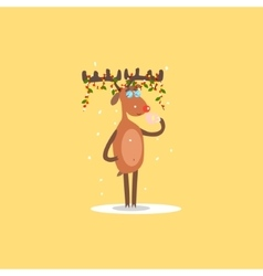 Reindeer with Garlands on the Horns vector image