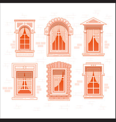 Retro or vintage window frames with curtain vector