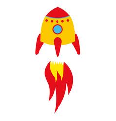 Rocket flying in space vector