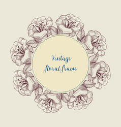 round floral frame vintage style lily flowers vector image