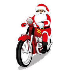 Santa claus on a red motorcycle vector