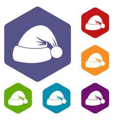 santa hat icons set vector image
