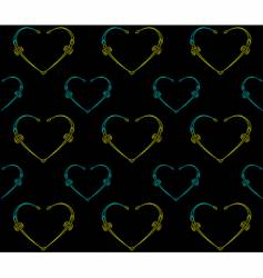 Seamless black pattern with hearts vector