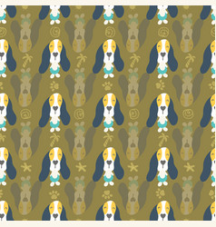seamless pattern cute puppies and dogs in line vector image