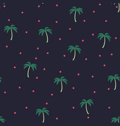 seamless pattern with green palms on dark vector image