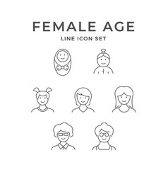 set line icons female age vector image