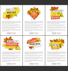 set of mega sale autumn fall price off coupons vector image