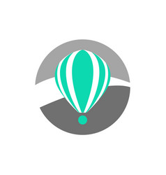 Simple turquoise hot air balloon icon vector