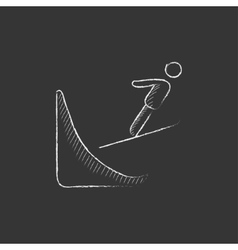 Ski jumping Drawn in chalk icon vector image