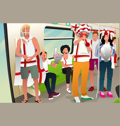 Soccer fans traveling by train vector