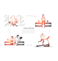 Sportswoman working out sport activity people vector