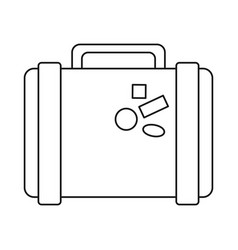 Suitcase travel with stickers thin line vector