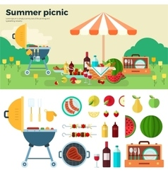 Summer Picnic on Meadow under Umbrella vector