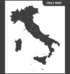 The detailed map of the italy with regions vector