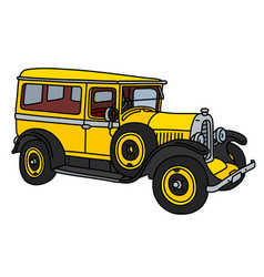 the vintage yellow van vector image