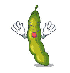 Tongue out green beans pod isolated on mascot vector