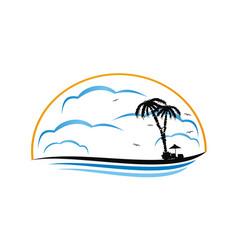 Tropical island logo design template vector
