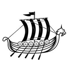 vikings ship drakkar design element for poster vector image
