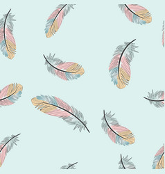 vintage light blue and pink feather seamless vector image