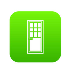 wooden door with glass icon digital green vector image