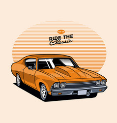 yellow classic car vector image