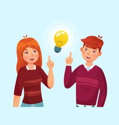 young people have idea students couple having vector image