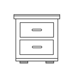bedside table wooden outline vector image