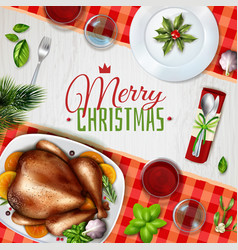 realistic turkey christmas vector image