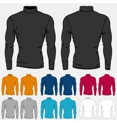 Set of colored turtleneck shirts templates for men vector image