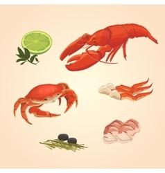 Set sea food crab and crawfish vector image vector image
