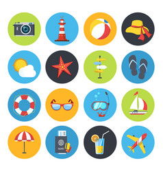 Summer icon set sunrise sea and vacation vector