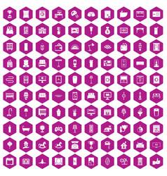 100 interior icons hexagon violet vector image vector image