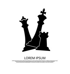 black chess pieces icon - background with chess vector image